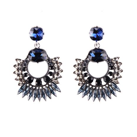 Imitated crystal&CZ Bohemia Geometric earring  (blue) NHJQ10728-blue's discount tags
