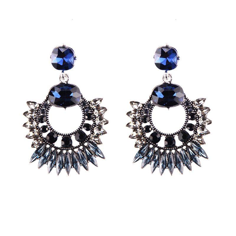 Imitated crystalCZ Bohemia Geometric earring  blue NHJQ10728blue
