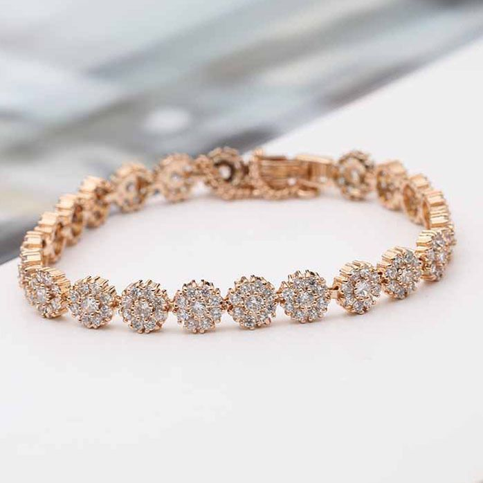 Copper Fashion Flowers bracelet  (Rose alloy) NHLJ4102-Rose-alloy