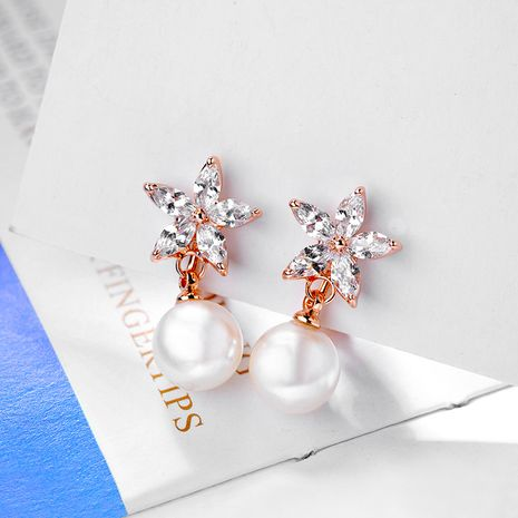 Copper Fashion Flowers earring  (Rose alloy white stone ear clip) NHLJ4103-Rose-alloy-white-stone-ear-clip's discount tags