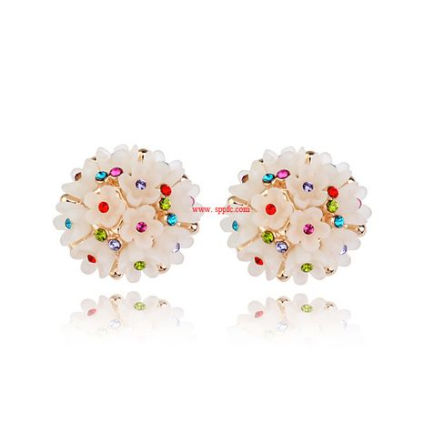 Alloy Korea Flowers earring  (Alloy champagne rhinestone) NHLJ4118-Alloy-champagne-rhinestone's discount tags