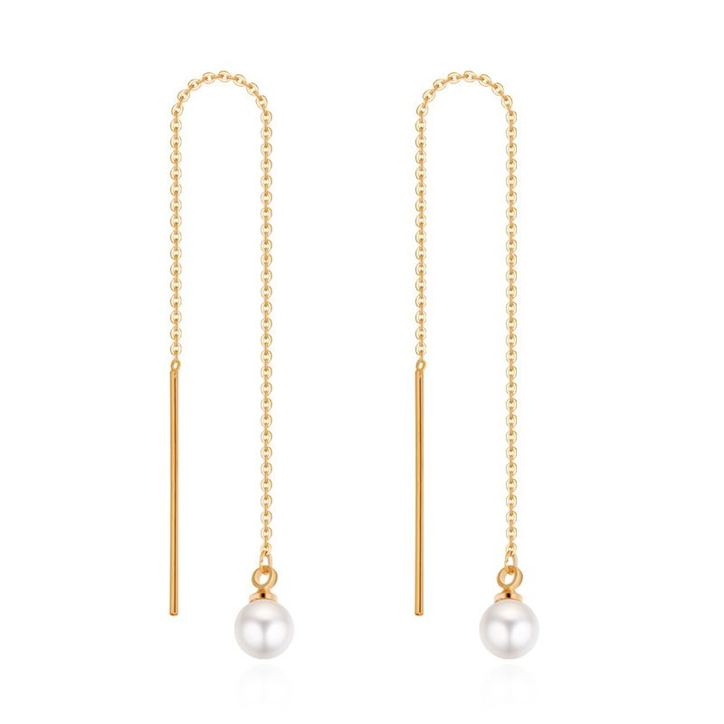 Plated alloy beads long earrings (champagne alloy) NHNPS4658