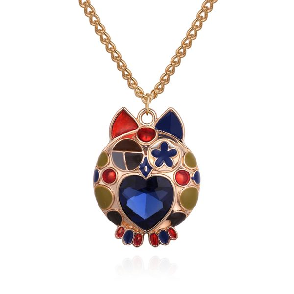 Korean version of the cute owl long necklace (champagne alloy + blue) NHNPS4674