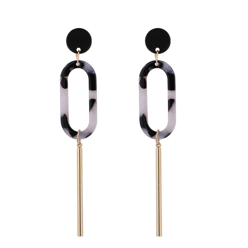 Europe and America exaggerated pendant temperament earrings (black) NHNPS4697