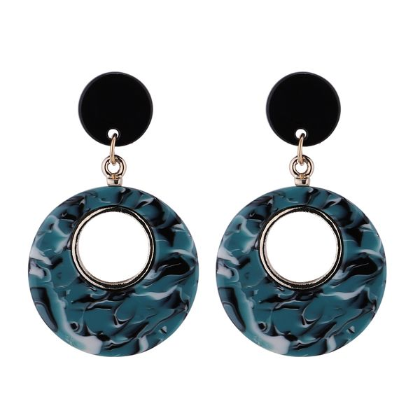 Korean version of creative wild ring earrings (ink green) NHNPS4701