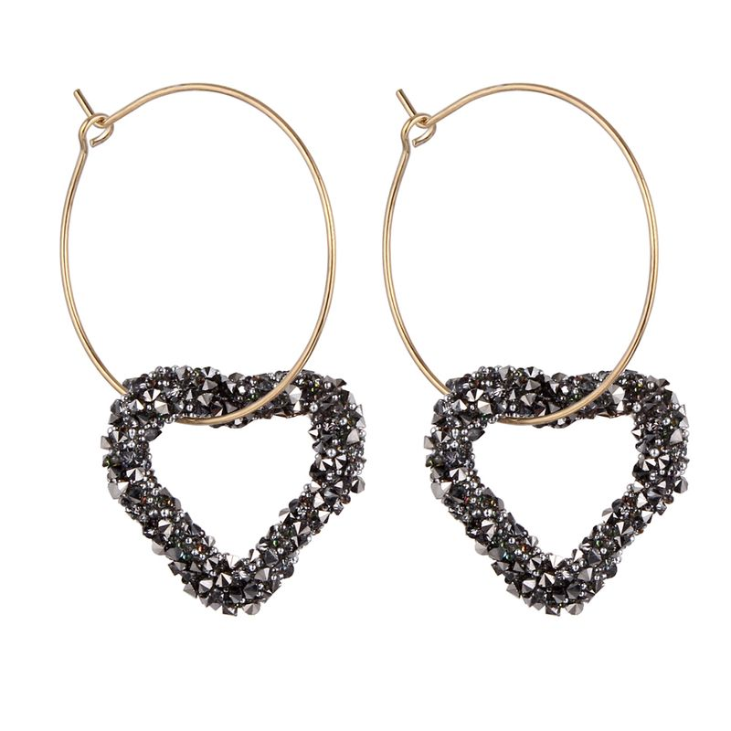 Korean version of the exaggerated ring love earrings (gray) NHNPS4779