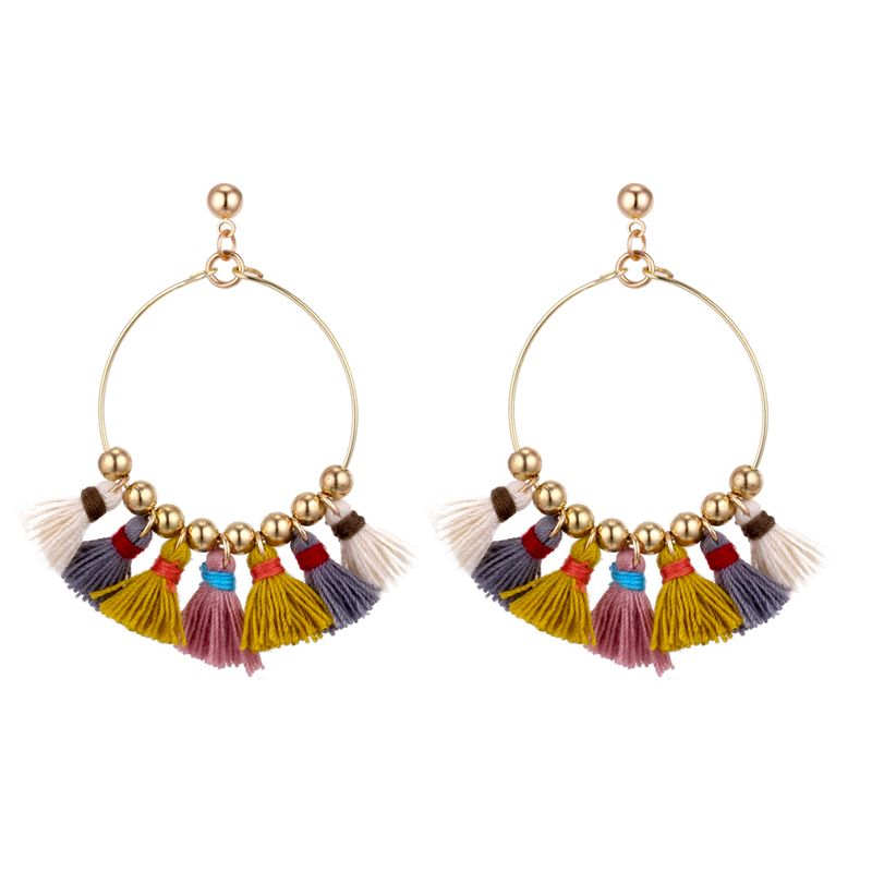 Bohemian style ring tassel earrings (colored) NHNPS4811
