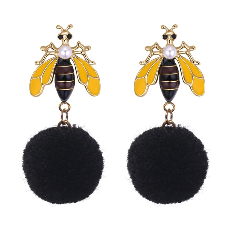 Korean fashion personality hair ball bee earrings (black) NHNPS4848