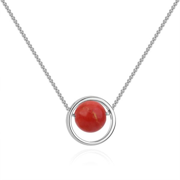 Korean version of the creative universe starry Mars necklace (white K + red pine) NHNPS4866