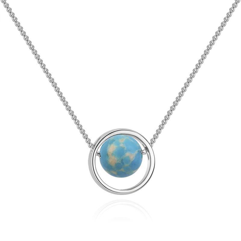 Korean version of the creative universe starry sky Uranus necklace (white K + emperor pine) NHNPS4868