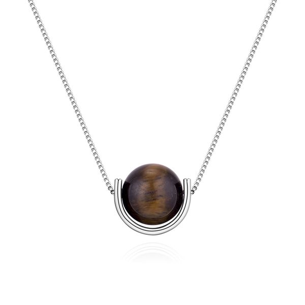 Korean version of the semi-ring small bead necklace (white K + tiger eye stone) NHNPS4878