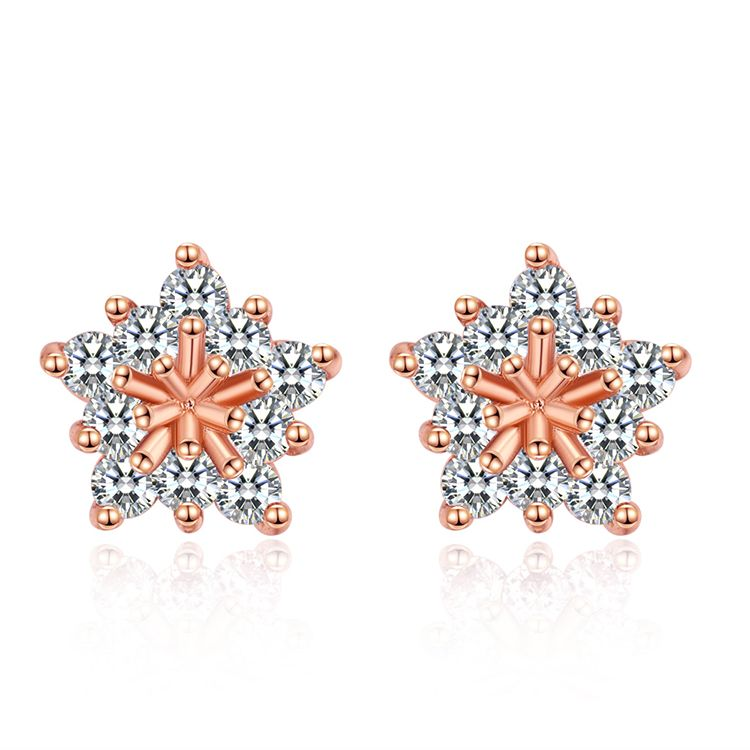 AAA grade zircon S925 alloy needle - rhinestone-studded five-pointed star (rose alloy) NHKSE28694