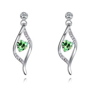 Austrian imitated crystal earrings - heart fascination (olive) NHKSE28907