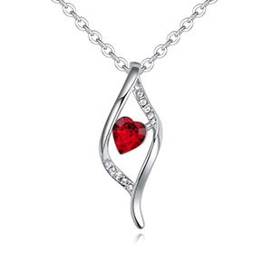 Austrian imitated crystal necklace  heart fascination light red NHKSE28897