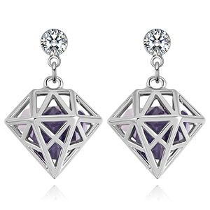 Alloy Earrings--Dream Lock Jade (Platinum + Tanzanite) NHKSE28892