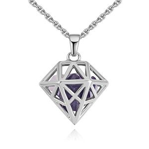 Plated alloy necklace  dream lock jade Platinum + Tanzanite NHKSE28884