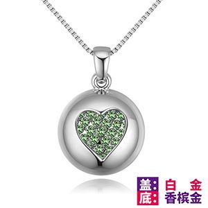 Imported Imitated crystal Necklace - Dream Star (Platinum + Champagne Alloy + Olive) NHKSE28846