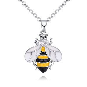 Plated alloy necklace - Little Bee C (white NHKSE28833