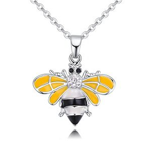 Plated alloy necklace - cute little bee B (white) NHKSE28828