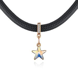Austrian Imitated crystal Necklace - Star Time (Champagne Alloy + Color White) NHKSE28750