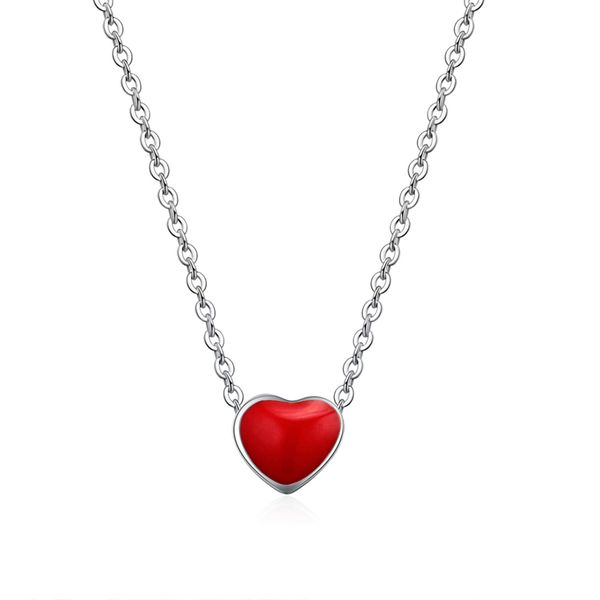 Cute sweet little red heart S925 alloy buckle necklace NHKSE28966