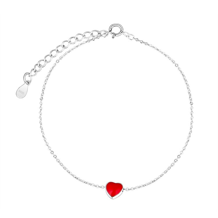 Cute sweet little red heart S925 alloy buckle bracelet NHKSE28965