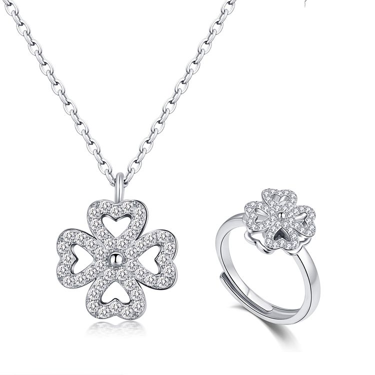 S925 sterling alloy rotating set  met lucky NHKSE28958