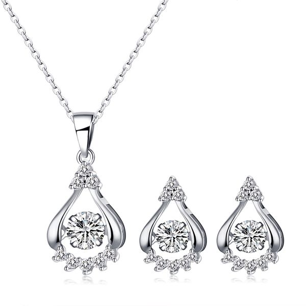 S925 sterling alloy smart water drop necklace NHKSE28957
