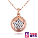 Imported Imitated crystal NecklaceStarry Stars Rose Alloy + White NHKSE28845