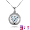 Imported Imitated crystal NecklaceDream Heart Rose Alloy + Color White NHKSE28863