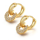 AAA zircon earrings  round is you rose alloy NHKSE28947