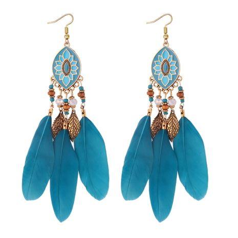 Version coréenne des boucles d'oreilles longues à pompon en plumes exagérées (bleues) NHNPS5032's discount tags