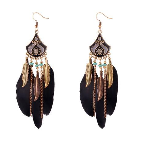 Boucles d'oreilles fée pompon bohème longue plume (noir) NHNPS5082's discount tags