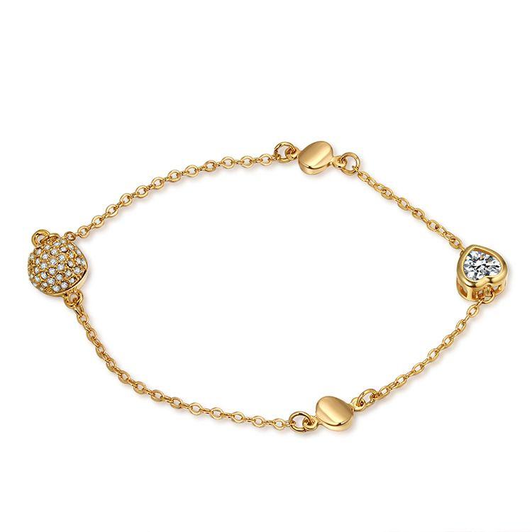 AAA Zircon Bracelet  Endless Love A Champagne Alloy NHKSE29140