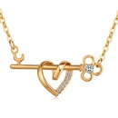Imported Imitated crystal NecklaceIn the Heart Champagne Alloy NHKSE29112