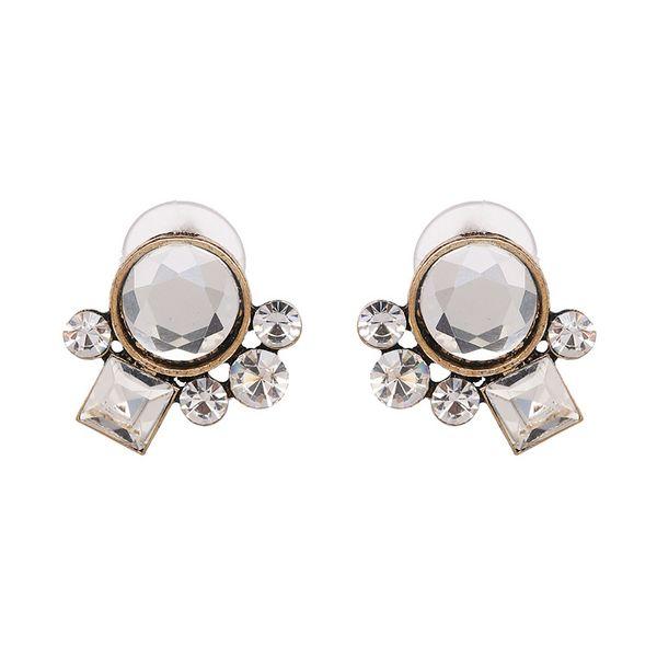 Imitated crystal&CZ Simple Geometric earring  (white) NHJJ5060-white