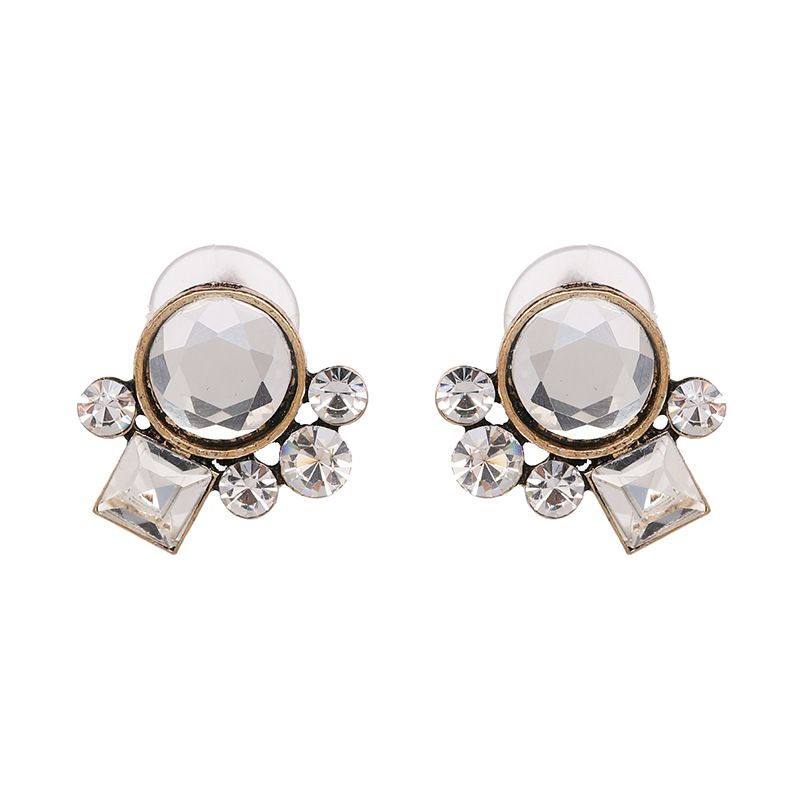 Imitated crystal&CZ Simple Geometric earring  (white) NHJJ5060-white