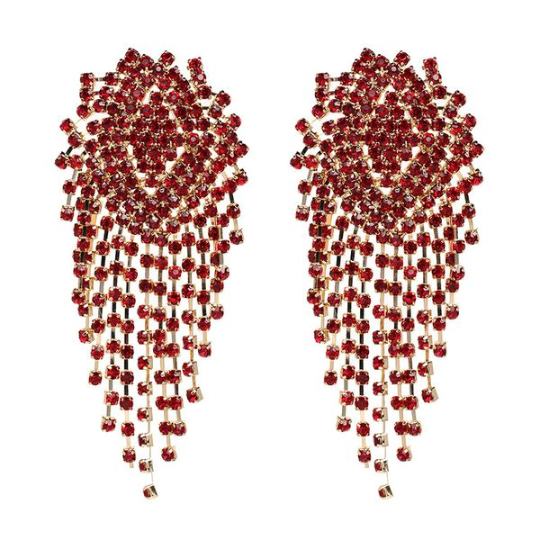 Imitated crystal&CZ Fashion Tassel earring  (red) NHJJ5070-red