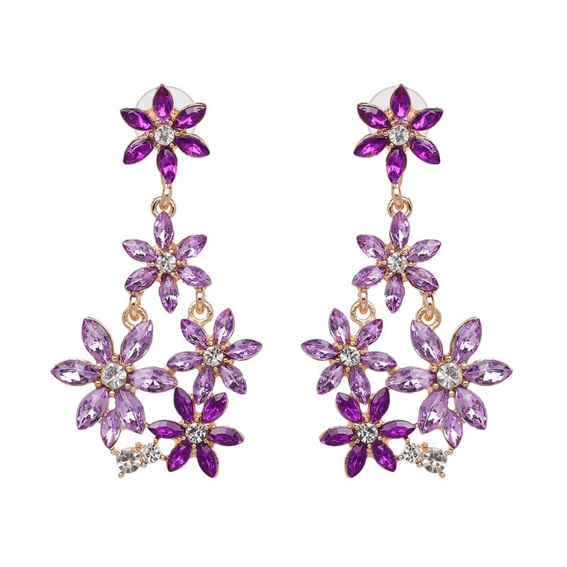 Imitated crystal&CZ Fashion Flowers earring  (purple) NHJJ5071-purple