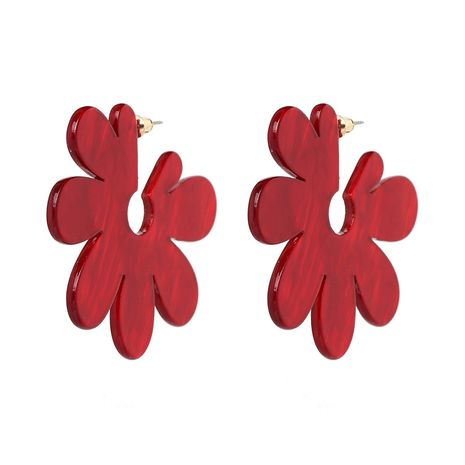 Plastic Korea Flowers earring  (red) NHJJ5081-red's discount tags