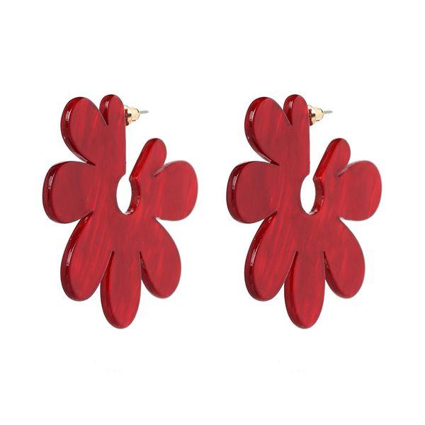 Plastic Korea Flowers earring  (red) NHJJ5081-red