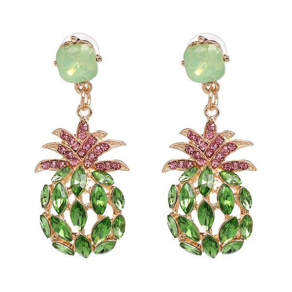 Imitated crystal&CZ Fashion Geometric earring  (green) NHJJ5083-green