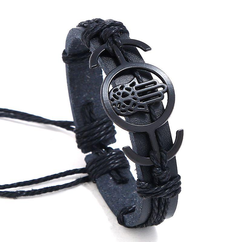 Leather Korea bolso cesta bracelet  (black) NHPK2086-black