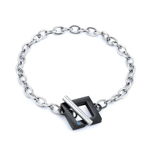 Titanium&Stainless Steel Korea Geometric bracelet  (Black men) NHOP2910-Black-men