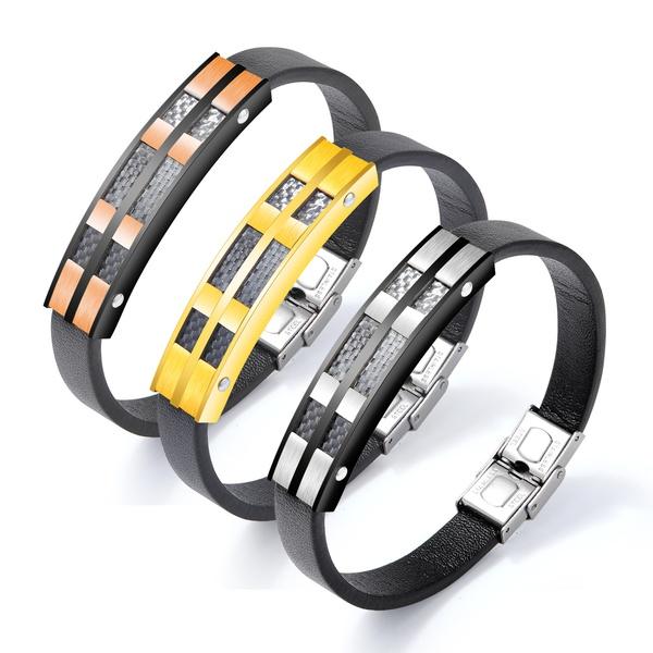 Leather Fashion Geometric bracelet  (1289-steel color) NHOP2915-1289-steel-color
