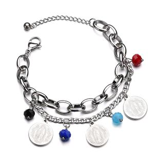 Titanium&Stainless Steel Punk Geometric bracelet  (Steel color) NHHF0978-Steel-color's discount tags