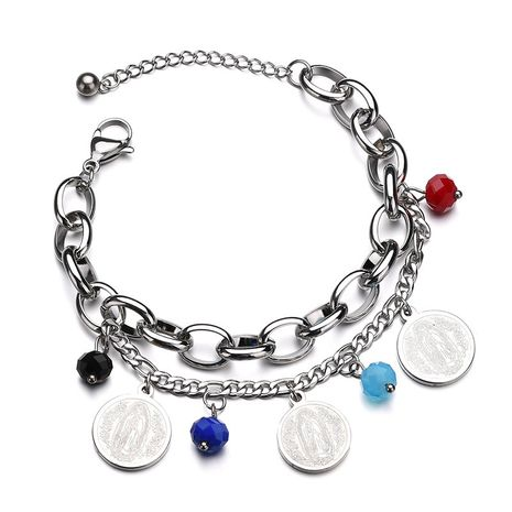 Titanium&Stainless Steel Punk Geometric bracelet  (Steel color) NHHF0978-Steel-color's discount tags