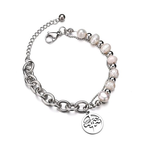 Titanium&Stainless Steel Fashion Flowers bracelet  (Steel color) NHHF0980-Steel-color's discount tags