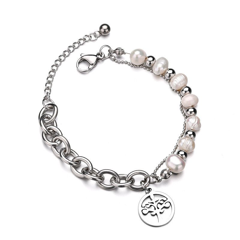 TitaniumStainless Steel Fashion Flowers bracelet  Steel color NHHF0980Steelcolor