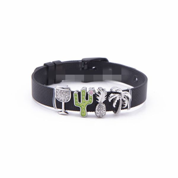 Titanium&Stainless Steel Simple Geometric bracelet  (Black bracelet) NHSX0310-Black-bracelet